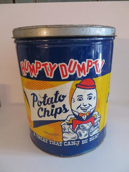 "Humpty Dumpty Potato Chip tin, 14 1/2"""