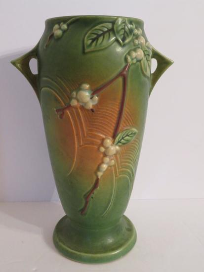 "Roseville Snowberry Vase, IVI-10, green, 10"""