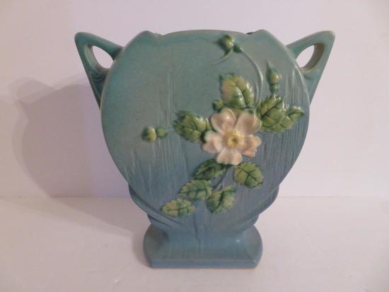 """Roseville White Rose Vase, blue, 984-8"""", two handled vase, 8"""""""