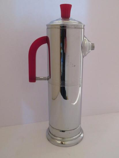 """Deco Chrome and Red Bakelite Cocktail pitcher, musical, 13 1/2"""""""