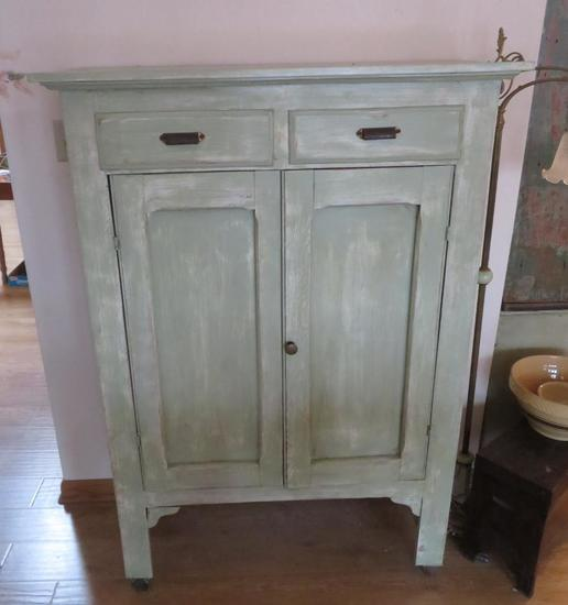 Pie Safe, painted, green distressed