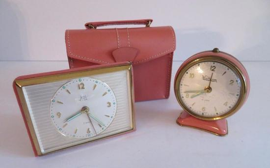 Two lovely pink travel clocks, Waltham and Zetka