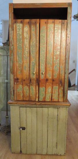 Two piece wainscot cabinet