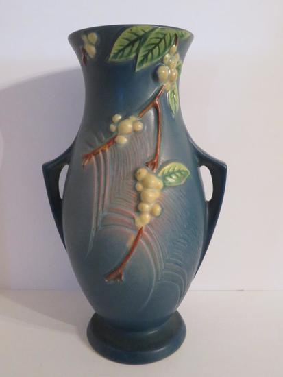 """Roseville Snowberry Vase, blue, 12 1/2"""", IVI-12"""
