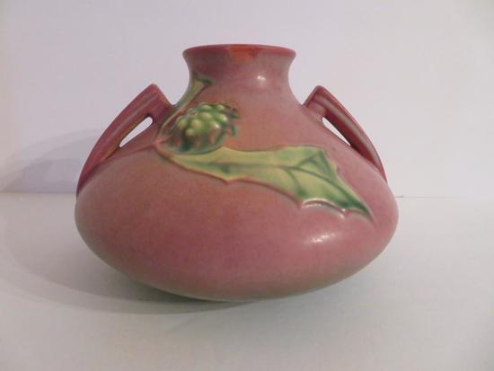 "Roseville Thorn Apple Vase, 808-4"", pink/green"