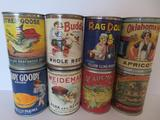 Eight metal can banks, 1 lb