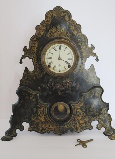 "Bradley and Hubbard metal ornate mantle clock, 20"""