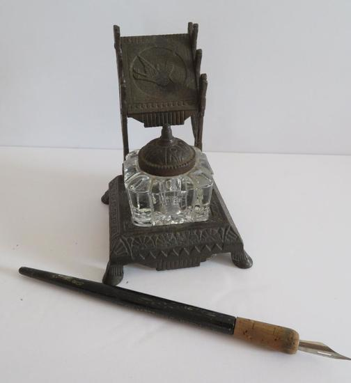 """Ornate Bird design Cast Iron ink well stand with glass bottle, 5"""""""