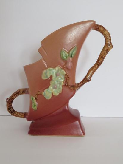 """Roseville 7"""" Apple blossom Vase, 373-7"""