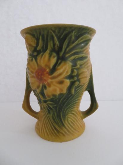"Roseville 4"" Peony Vase, yellow/orange, 57-4"