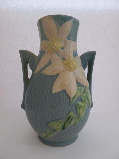 """Roseville 8"""" Vase, blue, double handle white Clematis, 108-8"""