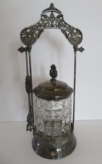 """Ornate Pickle castor, silverplate, with tongs, 12"""""""