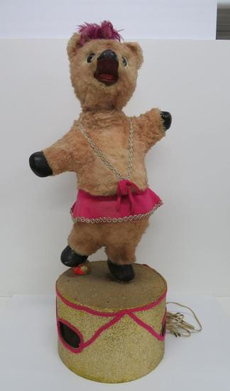 "Dazzling animated dancing bear, 35"" tall"