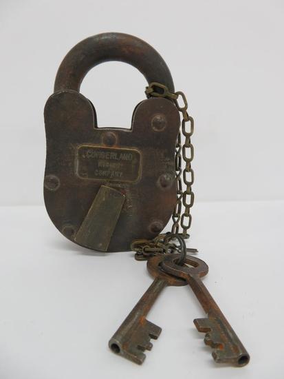 """Mining Lock, Cumberland Mining Company, with keys, 5"""""""