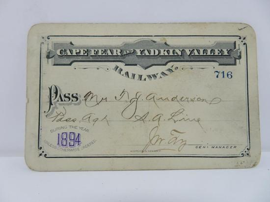 Cape Fear and Yadkin Valley Railway Pass 1894, cartouche back