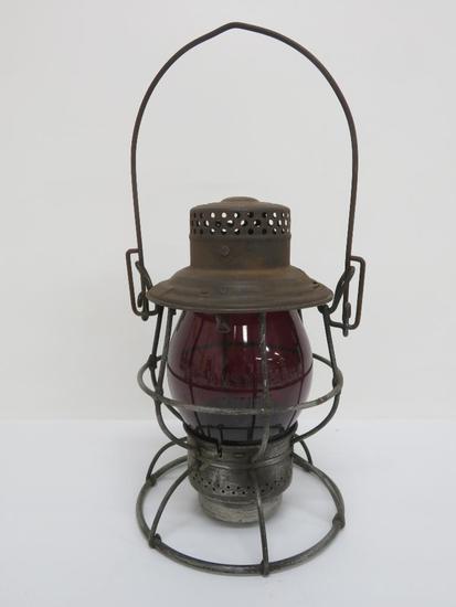 "Adlake Pennsylvania Lines Red Globe Railroad Lantern, 10"""