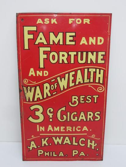 """Fame and Fortune metal cigar sign, 8"""" x 14"""""""