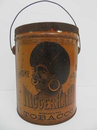 Nigger Hair Tobacco Can, B Leidersdorf Co Milwaukee