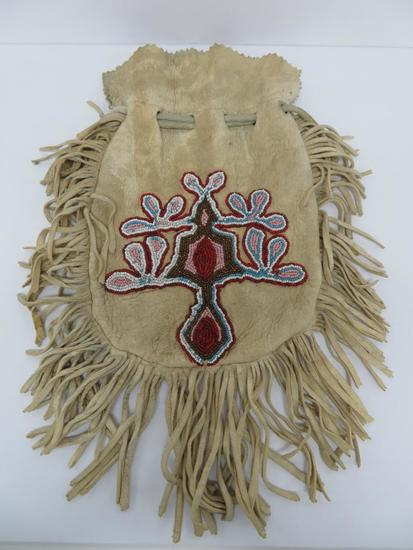 """Cree Native American Beaded Pouch, deer skin, 16"""" with fringe"""