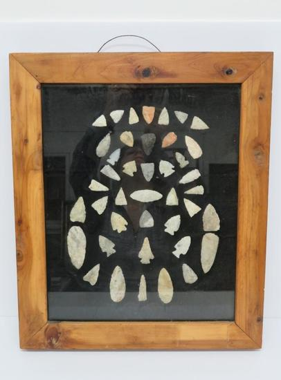 About 41 framed arrowhead points, Waukesha County