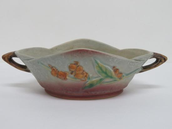 """Roseville Bittersweet bowl, 827-8, 10 1/2"""" long with handles"""