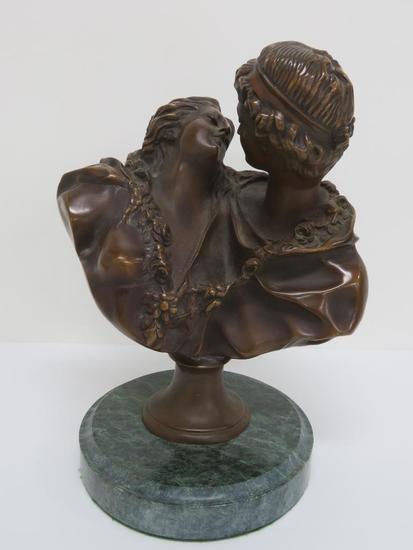 "Bronze Lovers statue, 11"" tall"