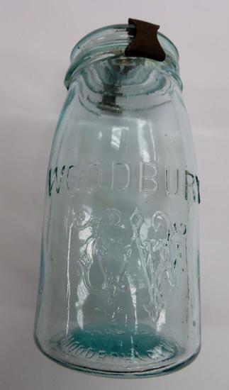 Hard to Find Woodbury Aqua Canning Jar with metal thumb closure, quart