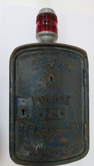 Game Well Police Telegraph Box, c 1900, with red light on top