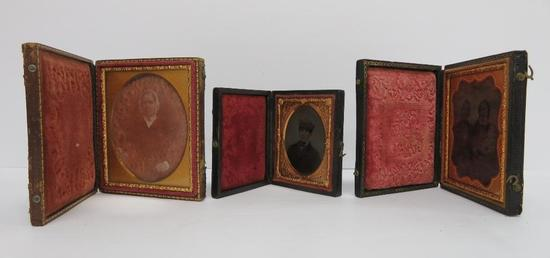 Three daugurotype cases with glass images