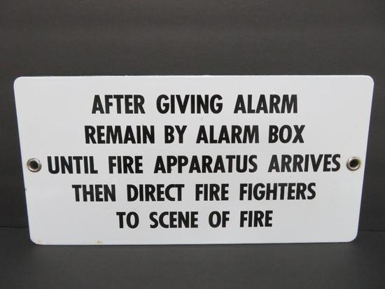 "Porcelain enamel Fire Alarm sign with applied lettering, 14"" x 17"""
