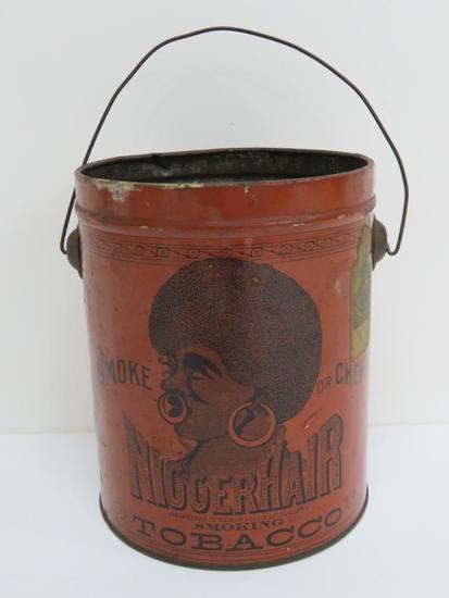 "Nigger Hair Tobacco Can, 6 3/4"", dark orange, B Leidersdorf Co"