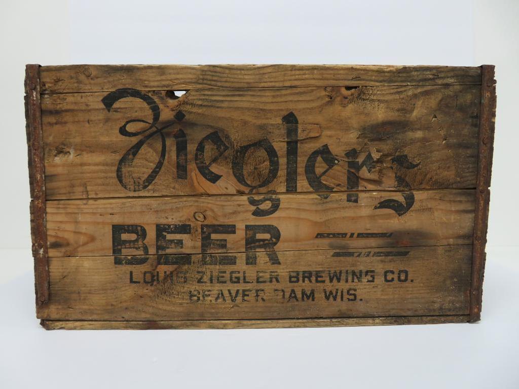 "Ziegler Beer wood box, Beaver Dam Wis, 18"""