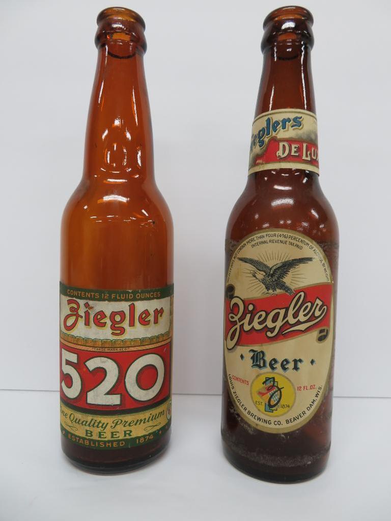 Two Ziegler Beer Bottles, 12 oz. paper labels