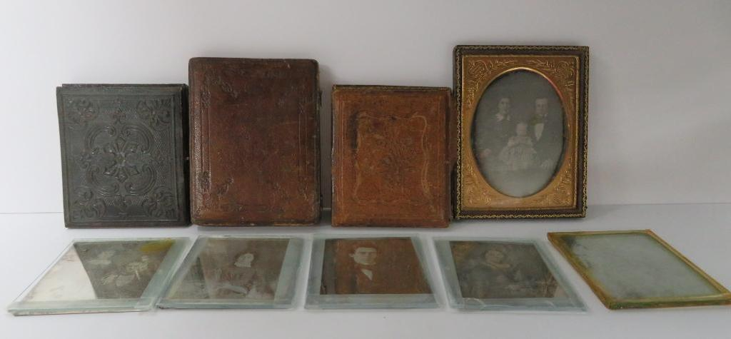 Nine Daguerreotypes, with and without cases