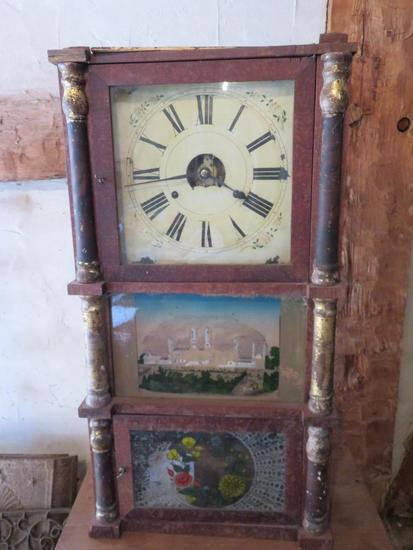 "Ornate reverse painted case clock, distressed, 16"" x 30"""