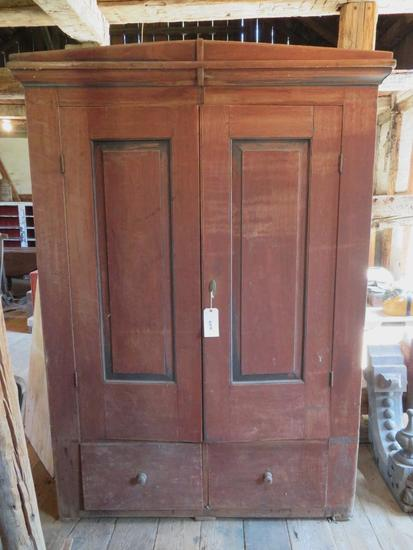Early two door wardrobe with drawers