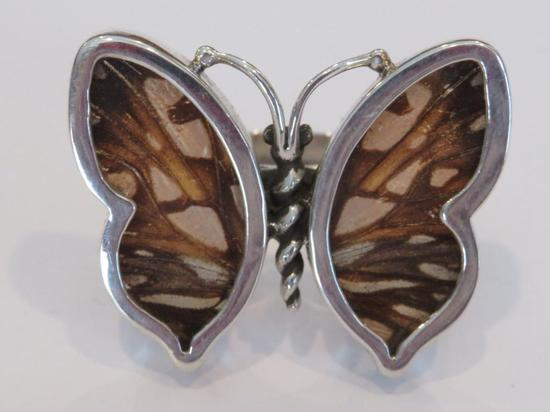 Butterfly wing ring, size 6, Peru, 950, WC designer