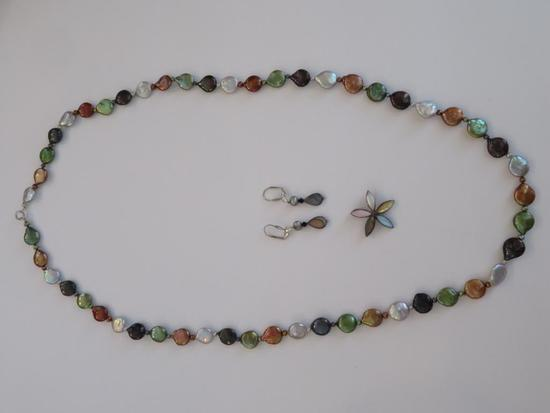 Beaded necklace, earrings and floral shape enhancer