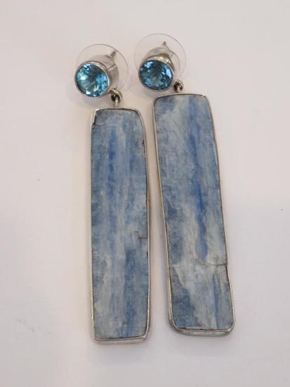 Lovely sterling silver and stone drop earrings by Charles Albert