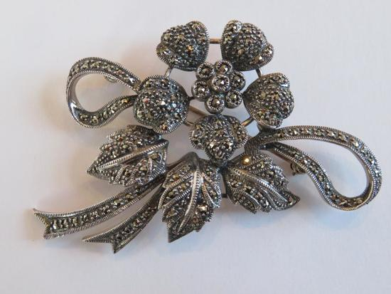 Marcasite floral pin, 2 3/4""