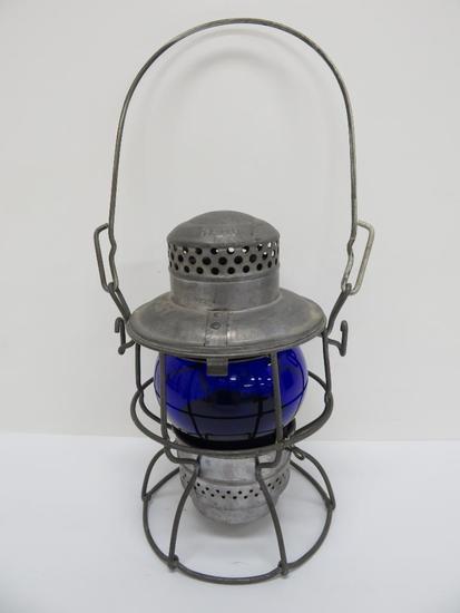 "IC Railroad lantern, cobalt globe, 9 1/2"""