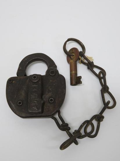 "Adlake IT Railroad Lock, 1920, with matching marked key, 3 1/2"""