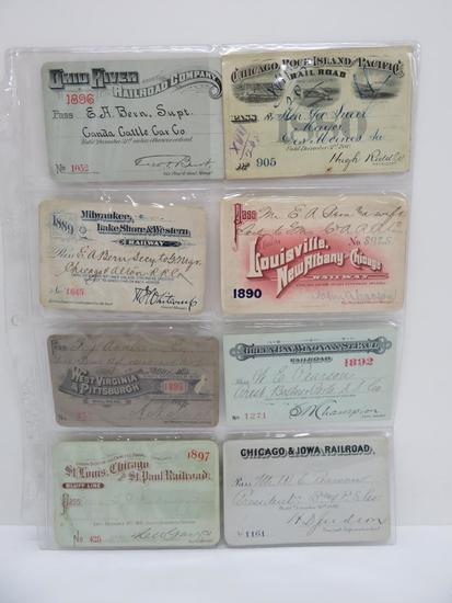 "eight Railroad passes, 1800's, 4"""