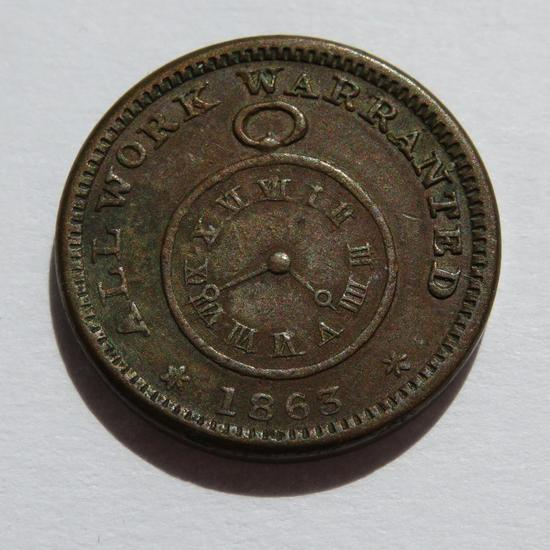 1863 JT Smith Jewelry Whitewater Wis, Civil War Token, watch front