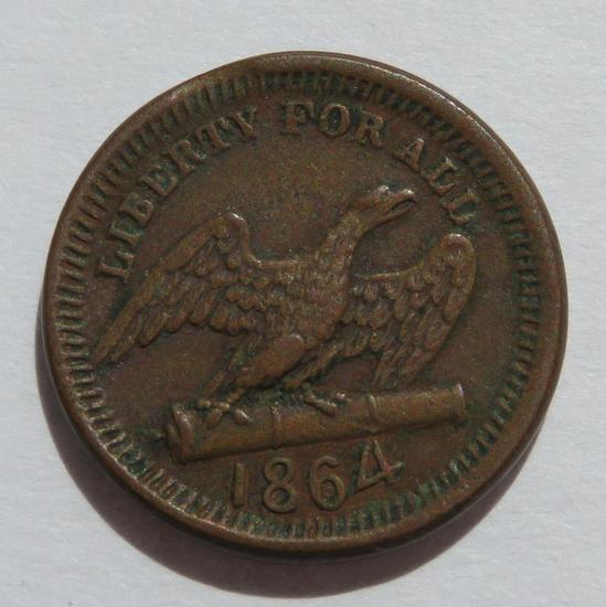 1864 Liberty for All, America, Civil War Token