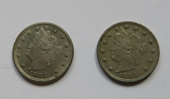 Two 1883 Liberty Nickels, cents and no cents