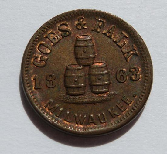 1863 Goes & Falk Milwaukee Wisconsin Brewery Civil War Token