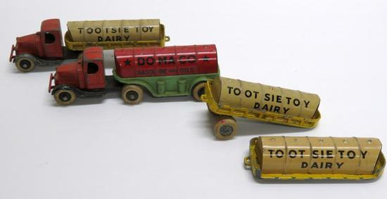 Tootsie Toy trucks, Dairy Tanker and Domaco Gasoline Tanker, 5 1/2""