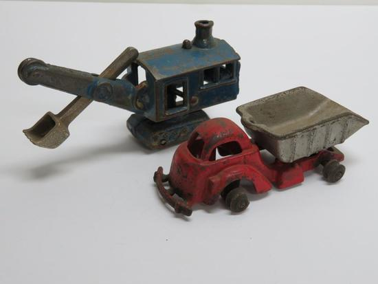 Two cast iron construction toys, Arcade steam shovel and dump truck, 4 1/2""