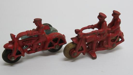 Two Cast iron motorcyles, one with side car, 4""
